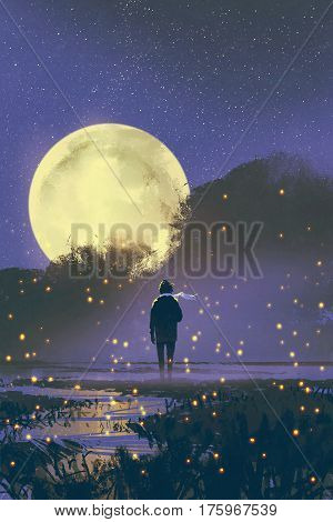 night scenery of man standing in swamp with fireflies and full moon on background, illustration painting