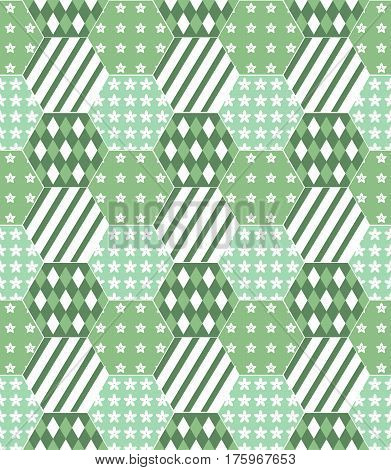 A vector illustration of a patchwork quilt background in shades of green