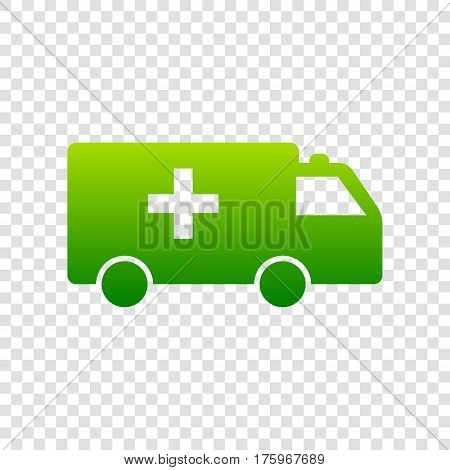 Ambulance Sign Illustration. Vector. Green Gradient Icon On Transparent Background.
