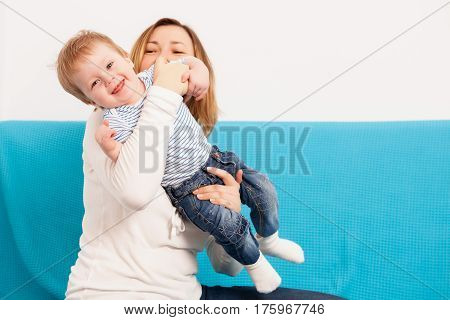 Mother And Happy Child Having Fun Time Toghether