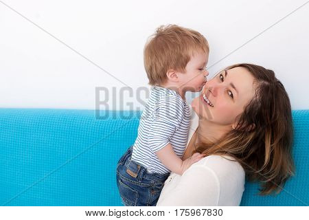 Mother And Kissing Son Having Fun Time Toghether