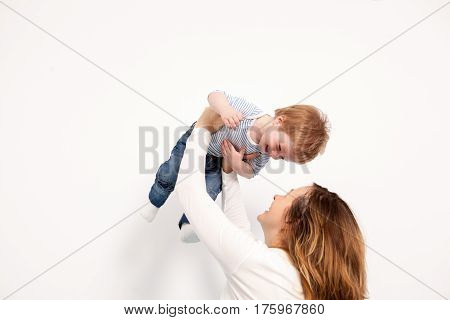 Mother And Child Son Playing Toghether