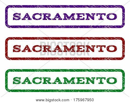 Sacramento watermark stamp. Text caption inside rounded rectangle frame with grunge design style. Vector variants are indigo blue, red, green ink colors. Rubber seal stamp with unclean texture.