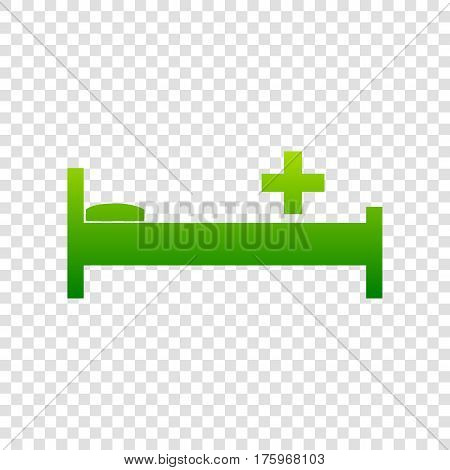 Hospital Sign Illustration. Vector. Green Gradient Icon On Transparent Background.