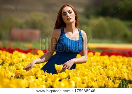 Beautiful Woman In Tulip Field