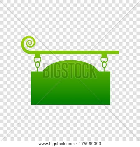 Wrought Iron Sign For Old-fashioned Design. Vector. Green Gradient Icon On Transparent Background.