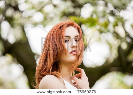 Sensual Redhead Woman Outdoor Photo