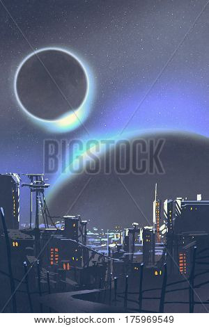 illustration of the futuristic city with planets and solar eclipse on background, digital painting