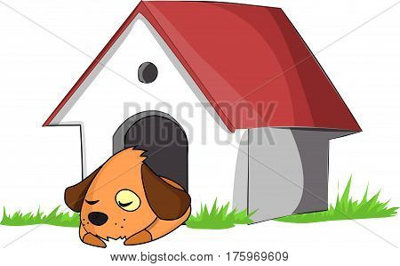 A dog in a white dog house on the green grass.