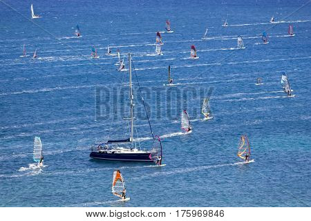 Windsurfing in Vassiliki bay Lefkada island Greece