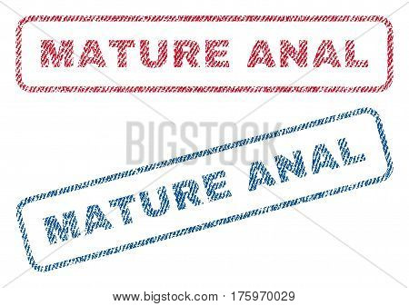 Mature Anal text textile seal stamp watermarks. Blue red fabric vectorized texture. Vector caption inside rounded rectangular banner. Rubber sign with fiber textile structure.