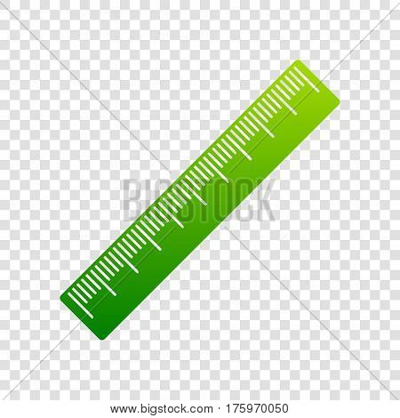 Centimeter Ruler Sign. Vector. Green Gradient Icon On Transparent Background.