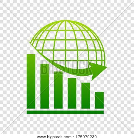 Declining Graph With Earth. Vector. Green Gradient Icon On Transparent Background.