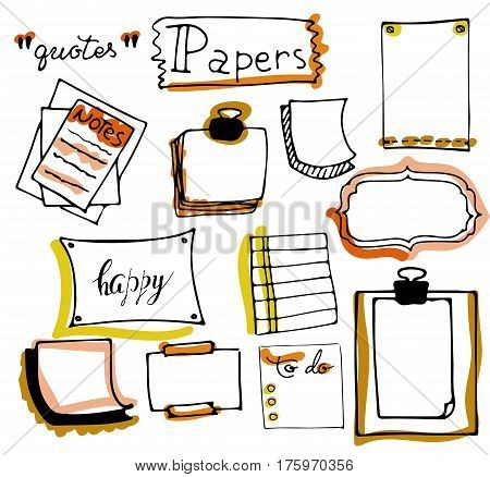 Office supplies. Set of hand drawn colorful isolated doodle notepaper for messages, paper notes, lists, frames in cartoon style. vector. Outline.