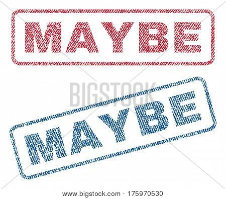 Maybe text textile seal stamp watermarks. Blue red fabric vectorized texture. Vector tag inside rounded rectangular banner. Rubber sign with fiber textile structure.