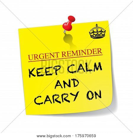 A yellow sticky note with a red pin saying keep calm isolated on a white background