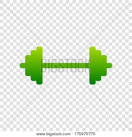 Dumbbell Weights Sign. Vector. Green Gradient Icon On Transparent Background.