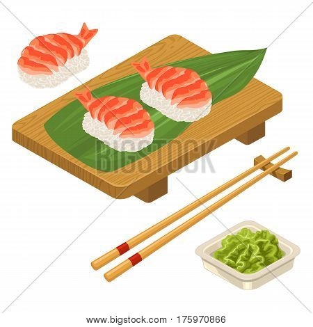 Nigiri Sushi with leaf shrimp chopsticks wasabi in bowl and wood board. Isolated on white background. Vector flat color illustration. For icon and menu