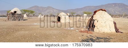Himba Village, indigenous peoples  living in northern Namibia, in the Kunene region