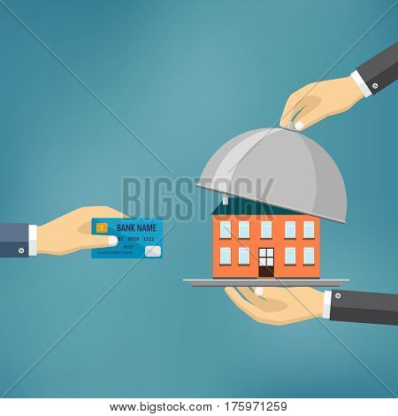 Ecommerce vector flat illustration. Hand hold credit card and hand hold cloche with house on it.