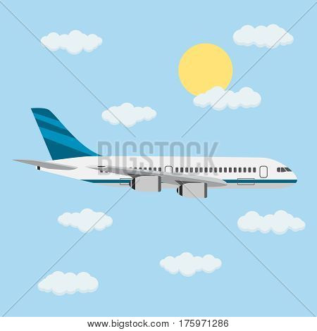 Flight of the passenger plane in the sky with the sun and clouds. Vector illustration