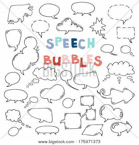 Vector hand drawn set of comic speech bubbles. Isolated. Black outlines. Collection of cartoon speech and thought communication bubbles in doodle style. Blank empty speech bubbles.