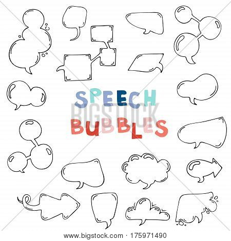 Vector hand drawn set of comic speech bubbles. Isolated. Black outlines. Collection of cartoon speech and thought communication bubbles in doodle style. Blank empty speech bubbles. Colorful.