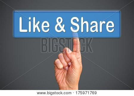 Like and Share - female hand with touchscreen