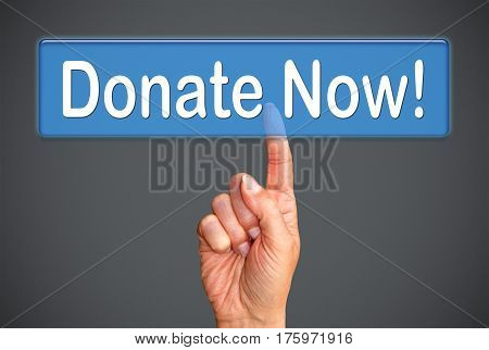 Donate Now - female hand with touchscreen button