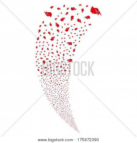 Person Stress Strike random fireworks stream. Vector illustration style is flat red iconic symbols on a white background. Object fountain constructed from scattered design elements.