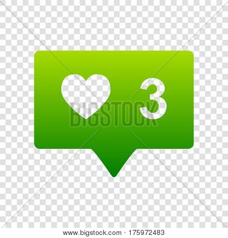 Like And Comment Sign. Vector. Green Gradient Icon On Transparent Background.