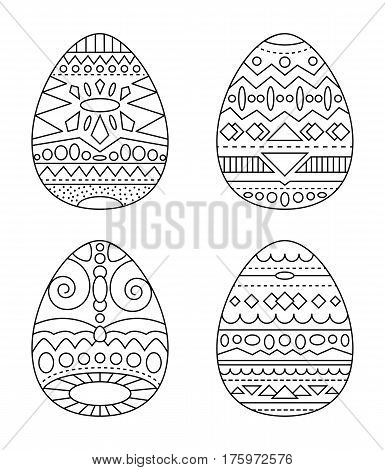 Easter eggs with tribal ornament vector coloring page. Black and white eggs with ethnic pattern clipart. Easter handmade postcard with chicken eggs. Easter eggs for coloring isolated. Easter clip art