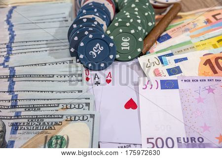 poker combinations - chips paly card money on desk.