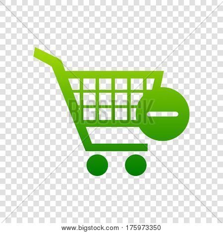 Vector Shopping Cart With Remove Sign. Vector. Green Gradient Icon On Transparent Background.