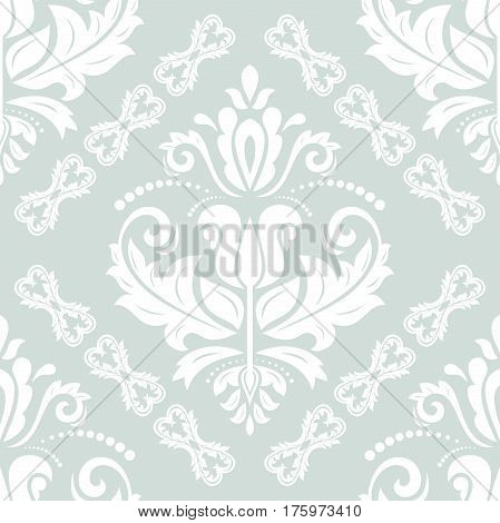 Damask classic ight blue and white pattern. Seamless abstract background with repeating elements