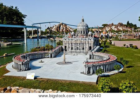 Rimini, Italy - May, 2011: The miniature of Saint Peter's Square in Vatican in Park of miniatures in Rimini, Italy
