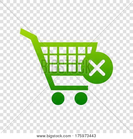 Shopping Cart With Delete Sign. Vector. Green Gradient Icon On Transparent Background.