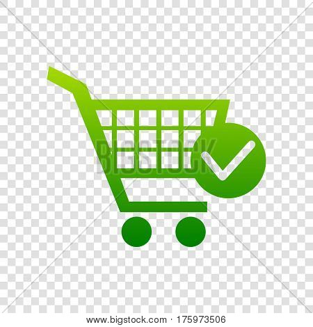 Shopping Cart With Check Mark Sign. Vector. Green Gradient Icon On Transparent Background.