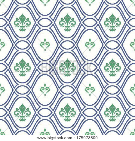 Seamless ornament. Modern geometric pattern with green royal lilies