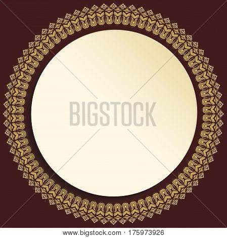 Nice frame with floral elements and arabesques. Fine greeting card. Brown and golden pattern