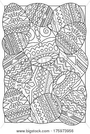 Easter eggs with tribal ornament vector coloring page for adults. Easter handmade postcard with chicken eggs. Ethnic ornament on Easter eggs. Easter coloring book vertical image. Black and white line