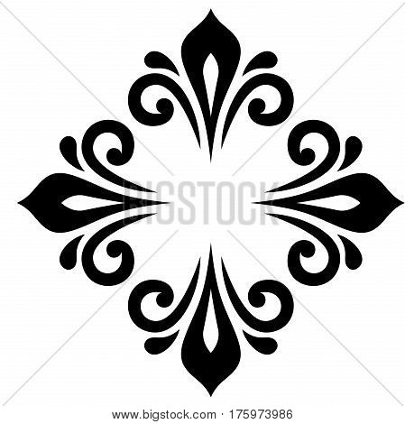 Elegant black ornament in the style of barogue. Abstract traditional pattern with oriental elements