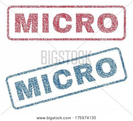 Micro text textile seal stamp watermarks. Blue red fabric vectorized texture. Vector caption inside rounded rectangular banner. Rubber sticker with fiber textile structure.