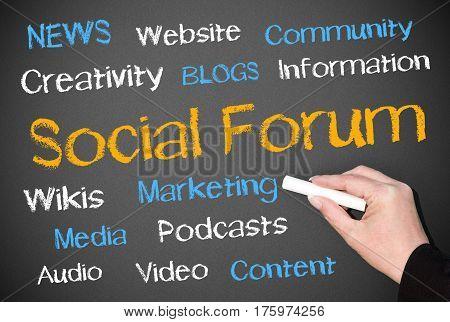 Social Forum - female hand writing text on chalkboard