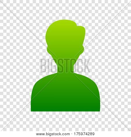 User Avatar Illustration. Anonymous Sign. Vector. Green Gradient Icon On Transparent Background.