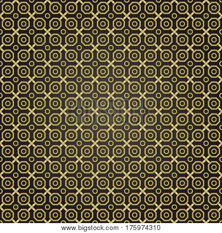 Geometric fine abstract octagonal background. Seamless modern black and golden pattern