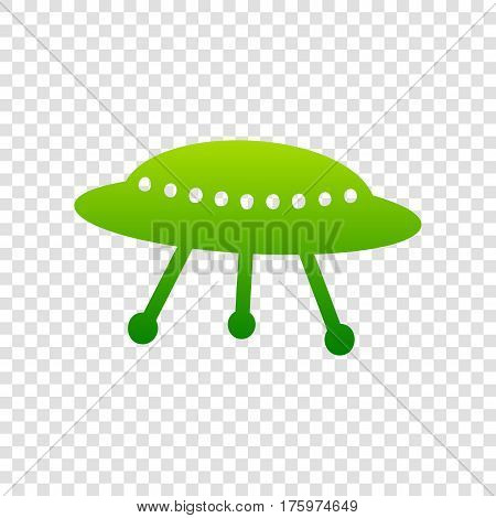 Ufo Simple Sign. Vector. Green Gradient Icon On Transparent Background.