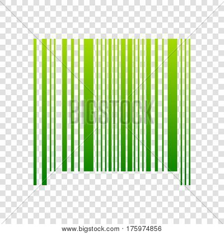 Bar Code Sign. Vector. Green Gradient Icon On Transparent Background.