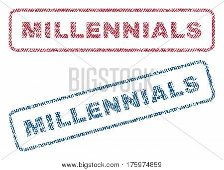 Millennials text textile seal stamp watermarks. Blue red fabric vectorized texture. Vector tag inside rounded rectangular banner. Rubber emblem with fiber textile structure.