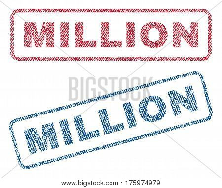 Million text textile seal stamp watermarks. Blue red fabric vectorized texture. Vector caption inside rounded rectangular shape. Rubber emblem with fiber textile structure.